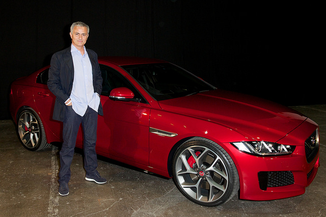 Jose Mourinho with the new Jaguar XE